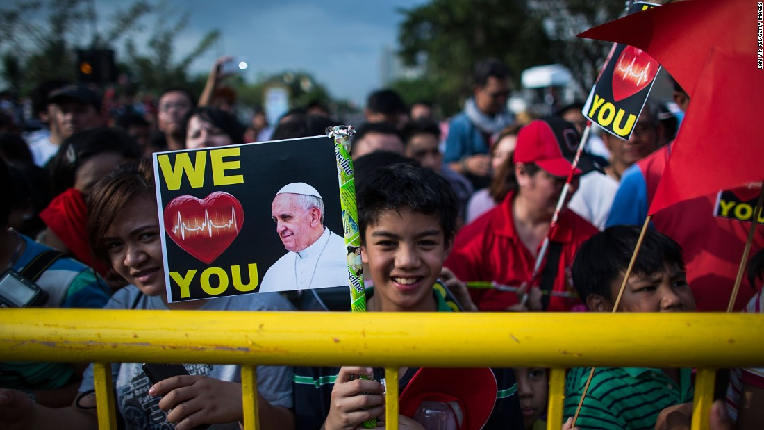 Crowds gather at the Malade area awaiting Pope Francis' arrival on January 15 in Manila, Philippines.