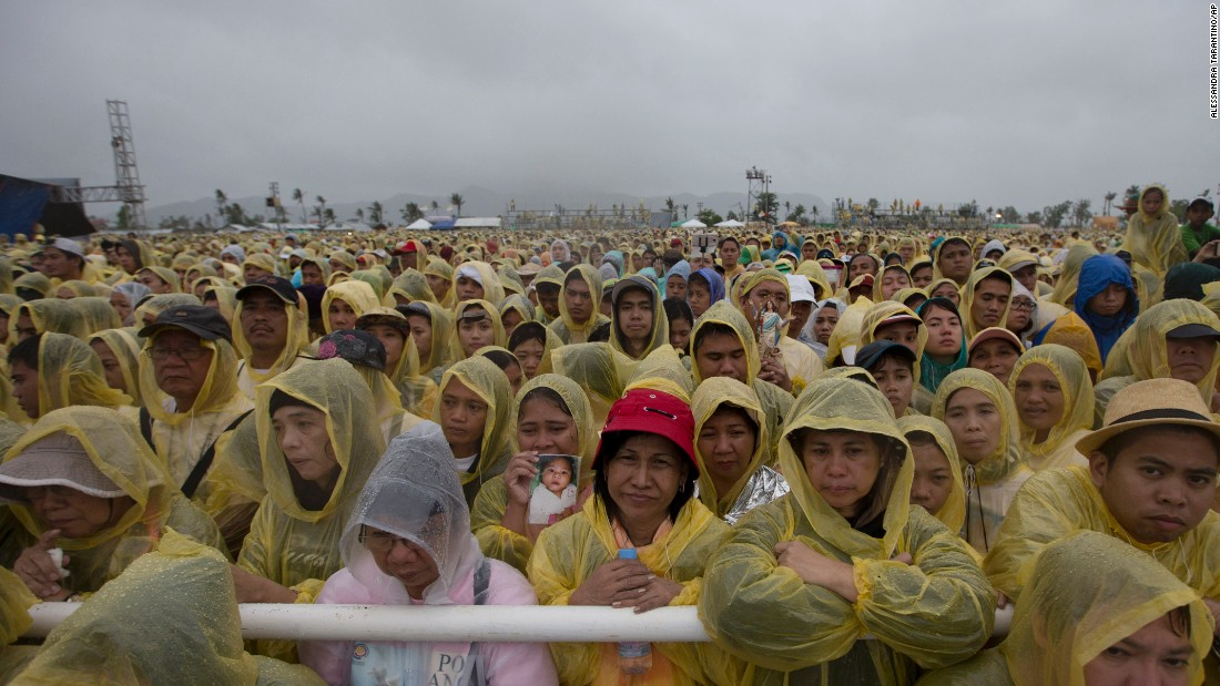 A large crowd of the faithful listens as the pontiff delivers his homily during a Mass in Tacloban, Philippines, on Saturday, January 17.
