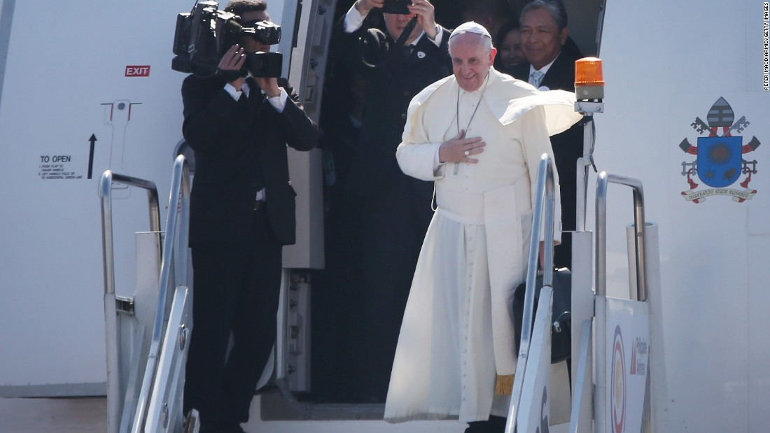 Pope Francis bids goodbye as he leaves Villamor Airbase for Rome on January 19 in Manila. Pope Francis has ended his five- day visit to the Philippines. The visit attracted millions as Filipino Catholics flocked to catch a glimpse of the leader of the Catholic Church. It was the first visit by a pope to the country since 1995.