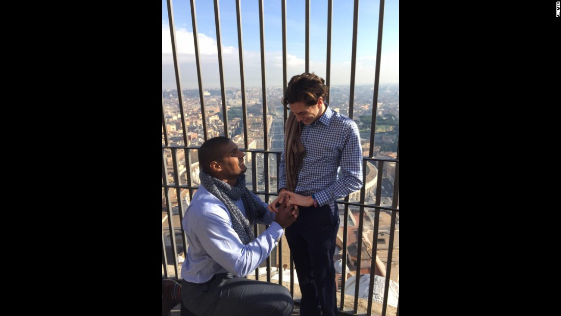 "Michael Sam, <a href=""http://www.cnn.com/2014/02/09/us/gallery/michael-sam/index.html"" target=""_blank"">the first openly gay football player to be drafted</a> into the NFL, proposed to his boyfriend, Vito Cammisano, during a vacation in Europe. ""Thank you for saying yes,"" <a href=""https://twitter.com/MichaelSamNFL/status/556173295968858113/photo/1"" target=""_blank"">Sam tweeted</a> on January 16, 2015."