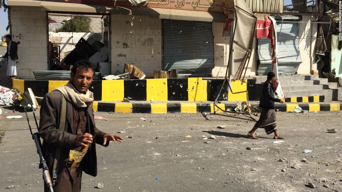 An armed member of the Houthi movement stands guard in the streets of Sanaa on January 20. Houthis are Shiite Muslims who have long felt marginalized in Yemen, a majority Sunni Muslim country.