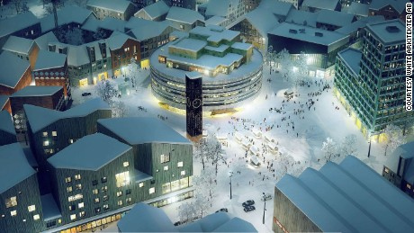 An artist's impression of the new Kiruna town square.