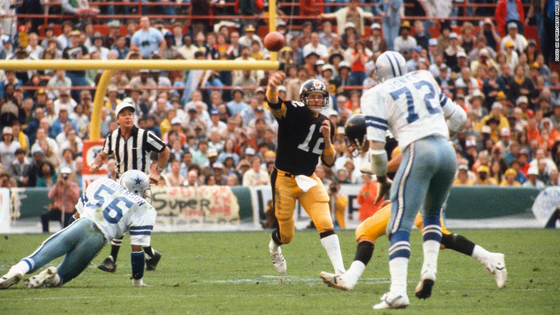 The Steelers and the Cowboys met for a Super Bowl rematch in 1979, and this game ended the same way as the one three years earlier -- with a Pittsburgh victory. This time, however, it was Steelers quarterback Terry Bradshaw who won MVP, throwing for 318 yards and four touchdowns as Pittsburgh edged Dallas 35-31.