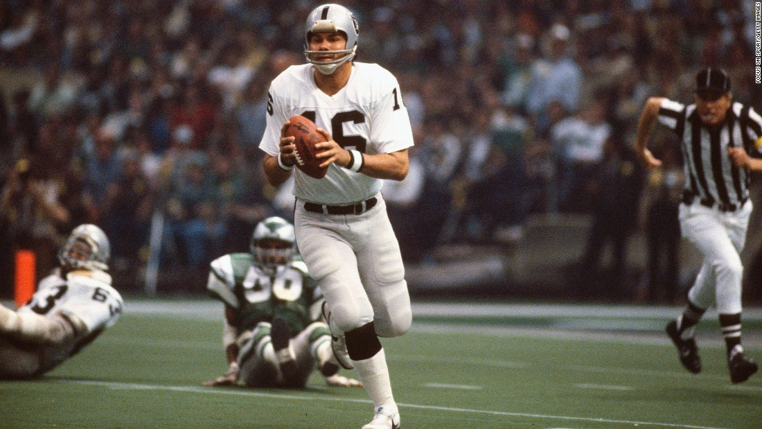 Oakland quarterback Jim Plunkett scrambles during the Raiders' 27-10 victory over the Philadelphia Eagles in 1981. Plunkett had 261 yards passing and three touchdowns on his way to winning MVP.