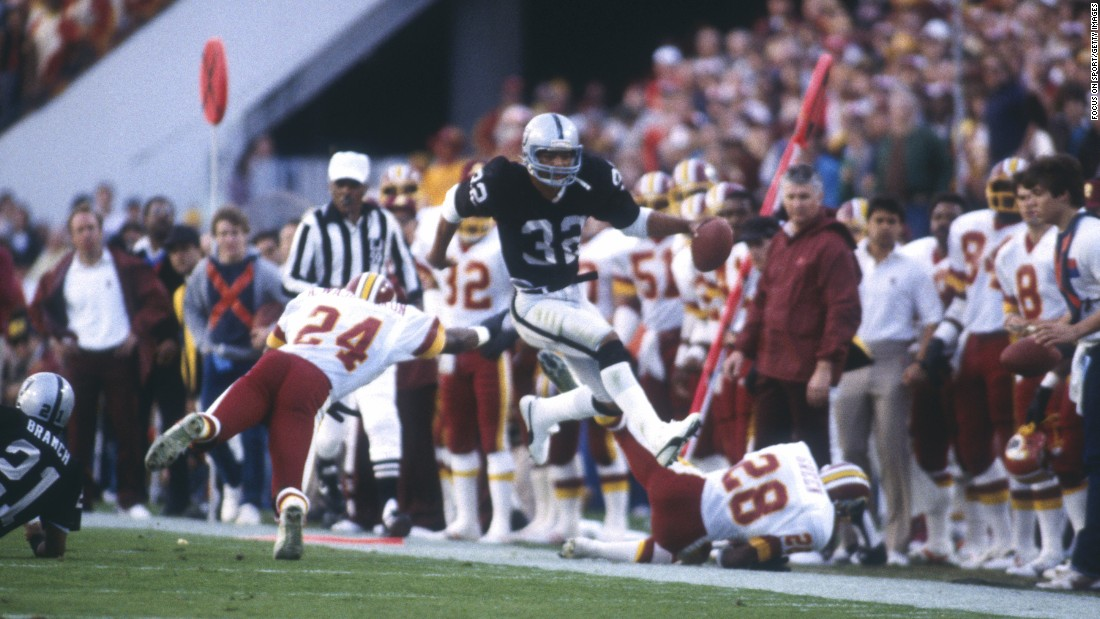 Washington was on the losing end one year later as MVP running back Marcus Allen exploded for 191 yards and two touchdowns. Allen's Raiders, who had recently moved from Oakland to Los Angeles, blew out the Redskins 38-9.