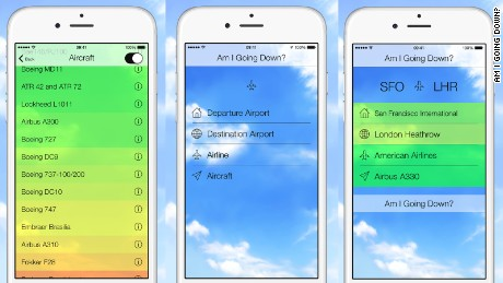 "New app ""Am I Going Down?"" uses aviation statistics to analyze the odds a flight will crash."