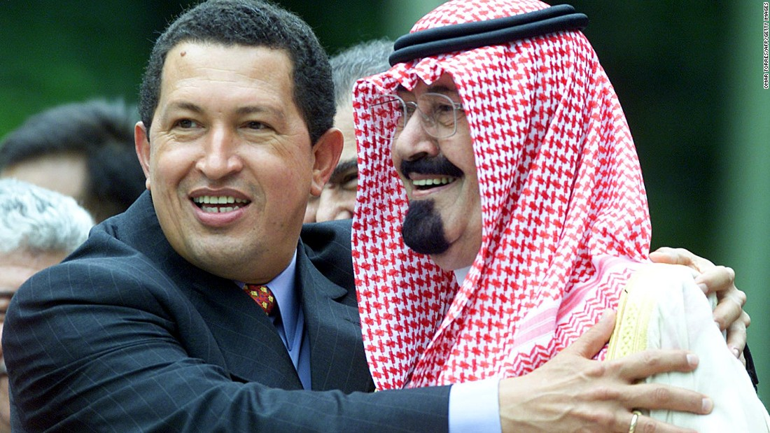 Venezuelan President Hugo Chavez hugs Prince Abdullah during a summit in Caracas, Venezuela, in September 2000.