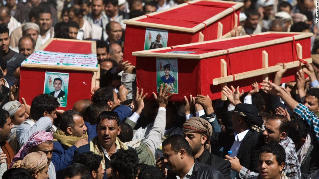 On Friday, January 23, Houthis carry coffins of those killed during recent clashes with presidential guard forces in Sanaa.