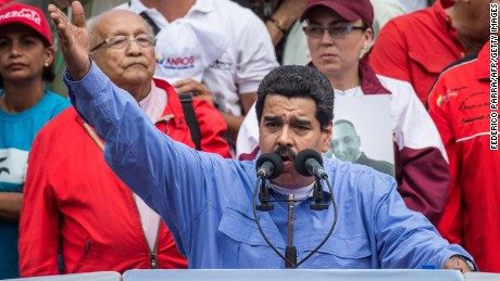 Venezuelan President Nicolas Maduro delivers a speech during a rally to commemorate the 57th anniversary of the end of Venezuelan dictator Marcos Perez Jimenez's regime, in Caracas on January 23, 2015. (Photo credit should read FEDERICO PARRA/AFP/Getty Images)