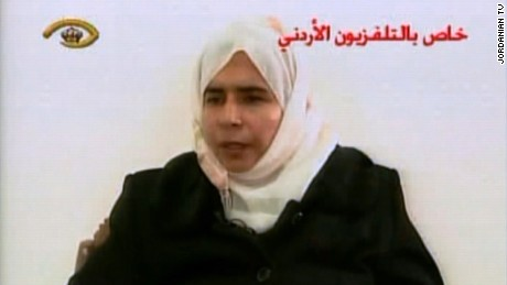 "Sajida al-Rishawi is seen in a frame from Jordanian television in 2005 where she confessed her participation in the deadly attacks at Amman hotels. She also said that her husband detonated his bomb, but when she tried to detonate hers, it failed to do so. Al-Rishawi said during her televised confession, ""My husband is the one who organized everything."""