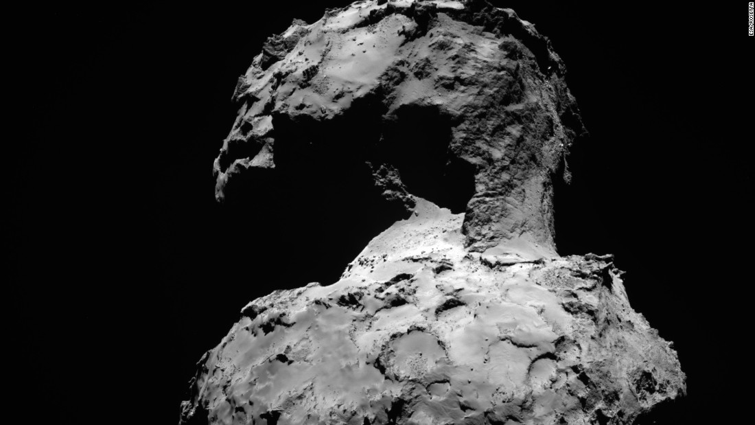 The Rosetta spacecraft snapped this wide-angle view of Comet 67P/Churyumov-Gerasimenko in September, 2014. Rosetta was about 107 million miles (172 million kilometers) from Earth and about 92 million miles (148 million kilometers) from the sun when the photo was released.