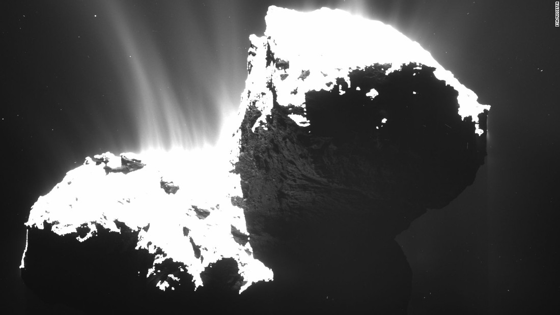 A camera on Rosetta took this picture of Comet 67P/Churyumov-Gerasimenko on November 22, 2014, from a distance of about 19 miles (31 kilometers). The nucleus is deliberately overexposed to reveal jets of material spewing from the comet. The 2.5-mile-wide (4-kilometer) comet has shown a big increase in the amount of water its releasing, according to NASA. The space agency says about 40 ounces (1.2 liters) of water was being sprayed into space every second at the end of August 2014.