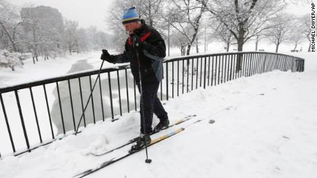 Irv Rosenberg skis on the Esplanade in Boston on January 24.