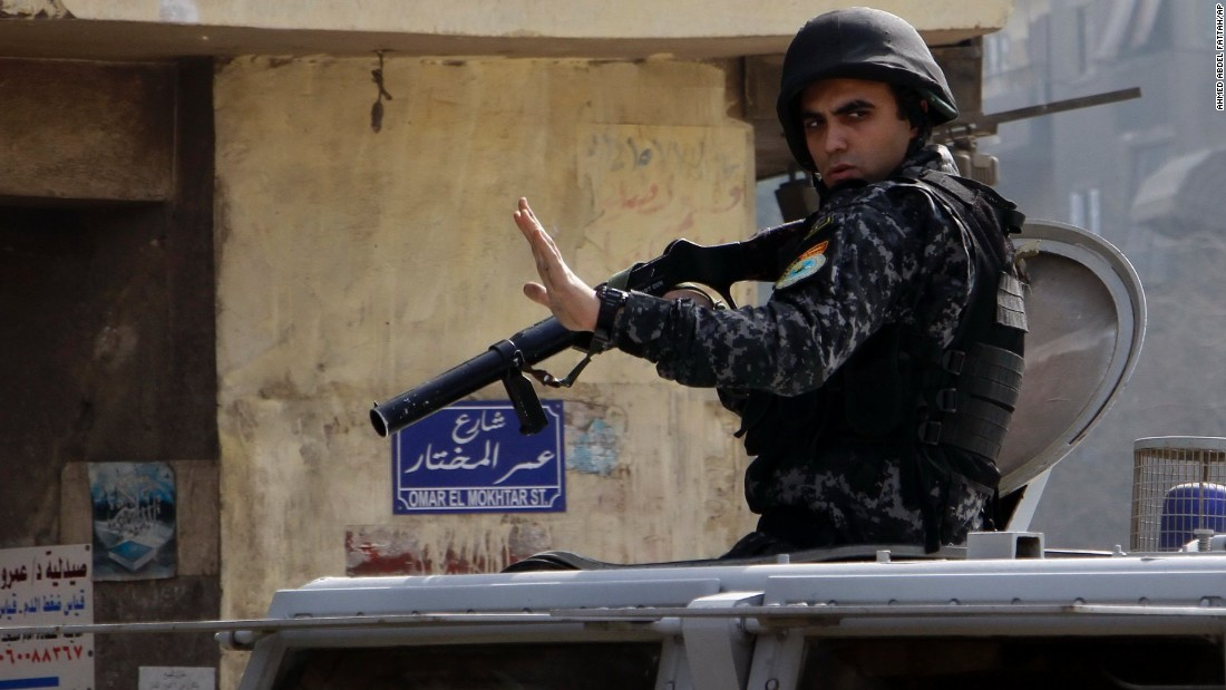 Egyptian security forces deploy in the Cairo suburb of Matariyah on Sunday, January 25. Egypt tightened security in Cairo and other cities Sunday as police moved to break up scattered protests marking the anniversary of the 2011 uprising that toppled Hosni Mubarak.