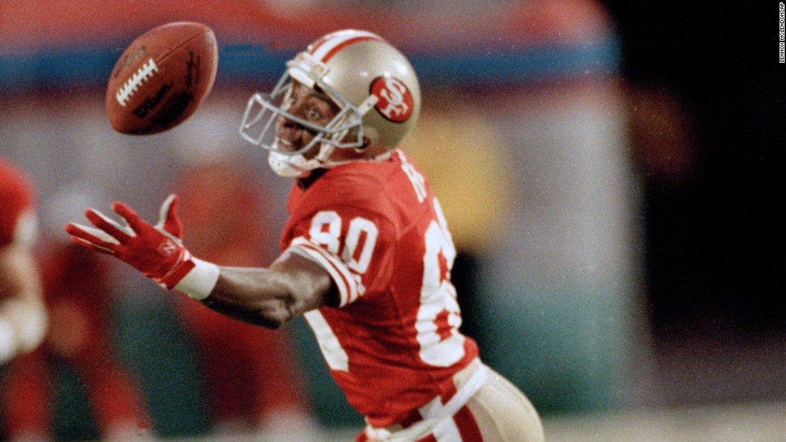 San Francisco wide receiver Jerry Rice was named Super Bowl MVP in 1989 after he caught 11 balls for a record 215 yards against Cincinnati. The Hall of Famer also holds Super Bowl records for most points and most touchdowns over a career. He has scored six touchdowns over four Super Bowls.