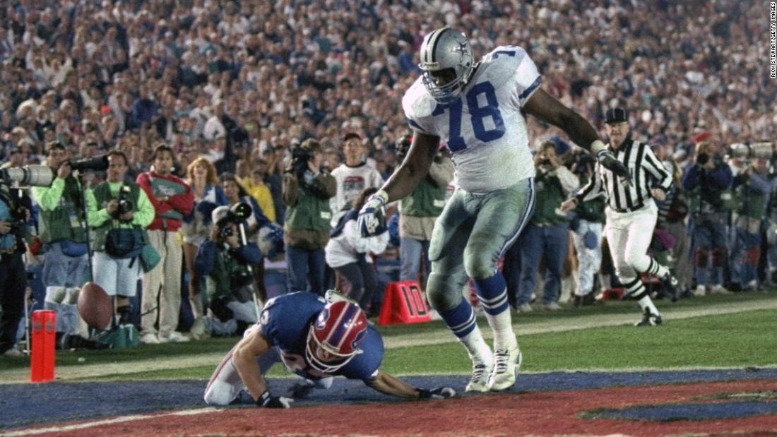 Almost everything came up roses for the Dallas Cowboys in 1993, as they crushed Buffalo 52-17 in the Rose Bowl. But defensive lineman Leon Lett had an embarrassing moment late in the game when he was returning a fumble for what looked to be a sure touchdown. Lett returned the ball 64 yards, but he started showboating early and was stripped by Buffalo's Don Beebe.