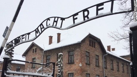 "Main Gate, Auschwitz Camp 1 Arbeit Macht Frei - ""Work makes you free""."