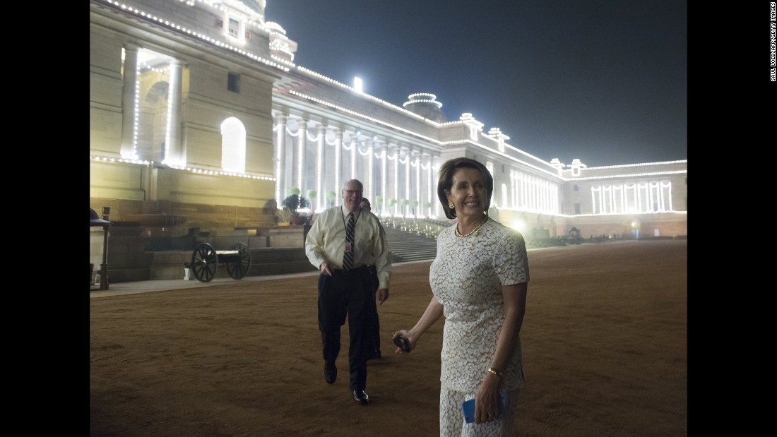 U.S. Rep. Nancy Pelosi, the House minority leader, arrives for the state dinner in New Delhi on January 25.