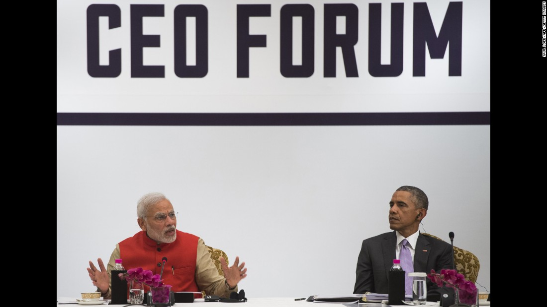 Indian Prime Minister Narendra Modi, left, and Obama participate in the India-U.S. Business Summit in New Delhi on Monday, January 26.