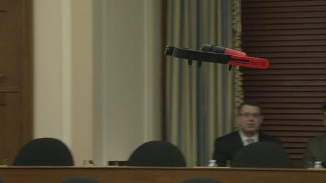 Drone flies inside Congressional hearing