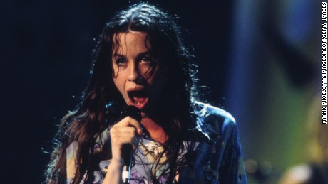 Alanis Morissette performing onstage at the 1995 Mtv Video Music Awards held in Los Angeles, CA on September 7, 1995  (Photo: Frank Micelotta/ImageDirect)
