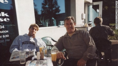 Ferguson and his dad in their hometown, before his 2004 conviction.