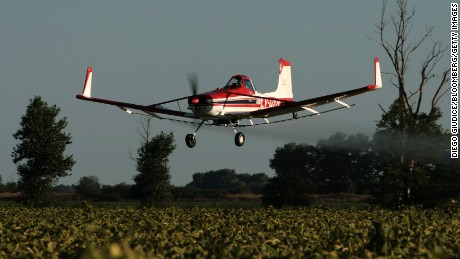 ARGENTINA - FEBRUARY 11:  An airplane sprays glyphosate herbicide over a sunflower plantation near Ines Indart, Argentina, on Monday, Feb. 11, 2008. Argentina is the second largest world producer of sunflowers, with an average harvest of 2 million tons per year.  (Photo by Diego Giudice/Bloomberg via Getty Images) Glyphosate herbicide