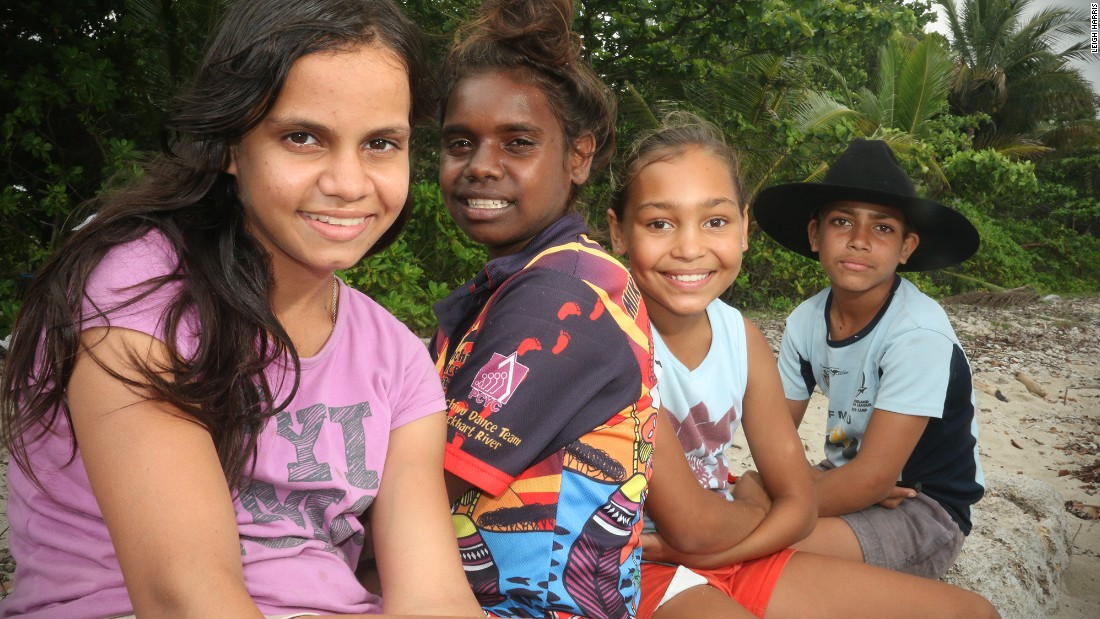 Kuku Yalanji children from Mossman, in north Queensland, spend time at Newell Beach with elders from the Kuku Bama language project.