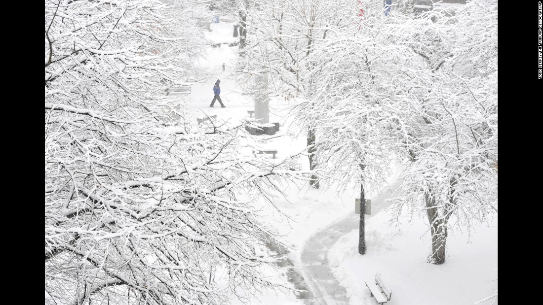 A pedestrian passes through Johnstown Central Park in Johnstown, Pennsylvania, on January 26.
