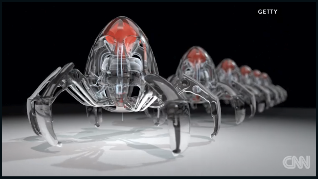 In this artist's impression, a swarm of nanobots is read to be deployed to deliver drugs inside a human body with extreme precision.
