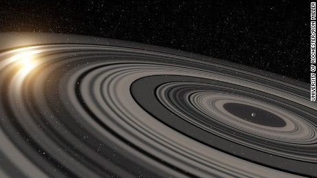 An artist's depiction of the rings of planet J1407b. Its rings are eclipsing a star.