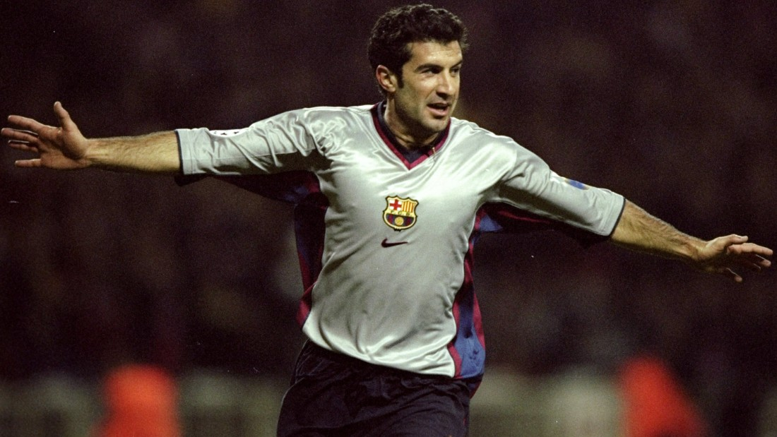 Figo began his career at Sporting Lisbon in Portugal before moving to Spanish giants Barcelona. There he won seven trophies, including back-to-back La Liga titles in 1998 and 1999, and was adored by the club's fans.