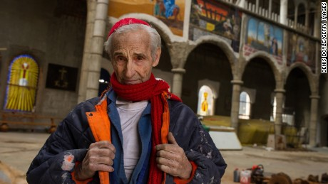 Former Trappist monk Justo Gallego poses for a portrait in at his self-built cathedral in Mejorada del Campo, Spain.