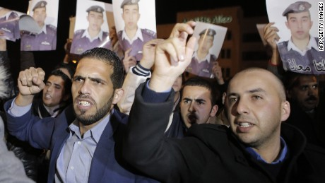 Friends and relatives of Jordanian air force pilot Maaz al-Kassasbeh demand his release in exchange for the release of Sajida al-Rishawi, an Iraqi female suicide bomber on death row in Jordan.