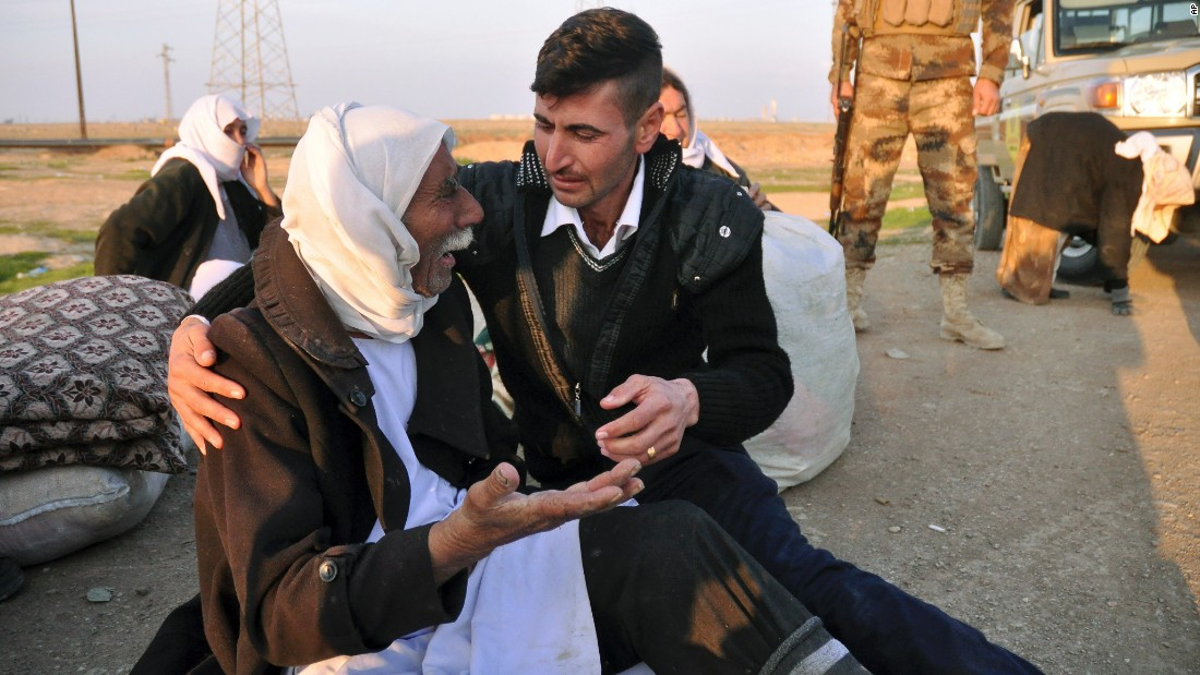 An aged Yazidi male arrives in Kirkuk after being diminished by ISIS on Saturday, Jan 17. The belligerent organisation diminished about 200 Yazidis who were hold serf for 5 months in Iraq. Almost all of a liberated prisoners were in bad health and gimlet signs of abuse and neglect, Kurdish officials said.