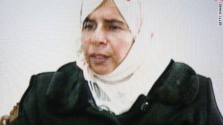 Caption:AMMAN, JORDAN - NOVEMBER 13. This frame grab from Jordanian state run TV taken on November 13, 2005 shows Iraqi Sajida Mubarek Atrous al-Rishawi confessing to her failed attempt to set off an explosives belt inside one of the three Amman hotels. The attacks on November 9 left at least 60 dead and injured over one hundred people. (Photo by Getty Images)