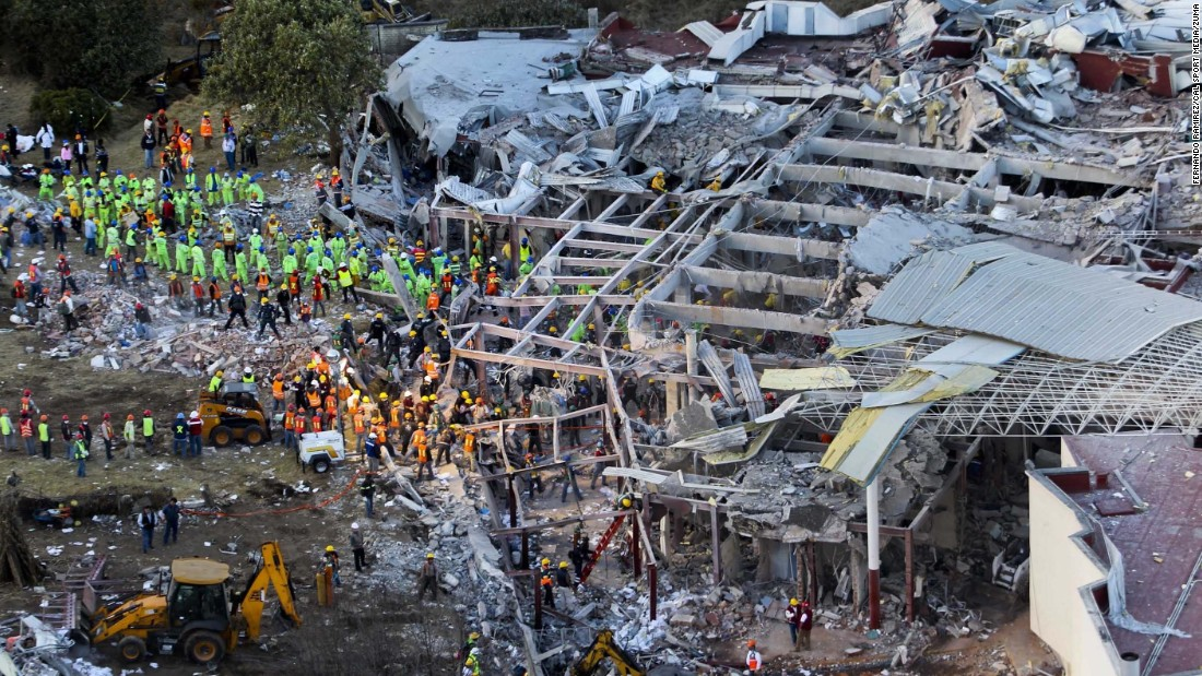 An aerial photo shows the scene after a gas explosion that rocked a maternity hospital on the outskirts of Mexico City on Thursday, January 29. Two people were killed, the city's mayor said, correcting earlier official statements with a higher death toll.