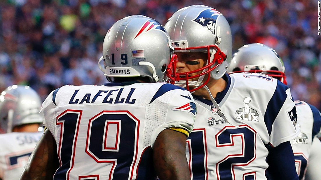 New England wide receiver Brandon LaFell celebrates with Brady after the two linked up for a second-quarter touchdown that opened the game's scoring.