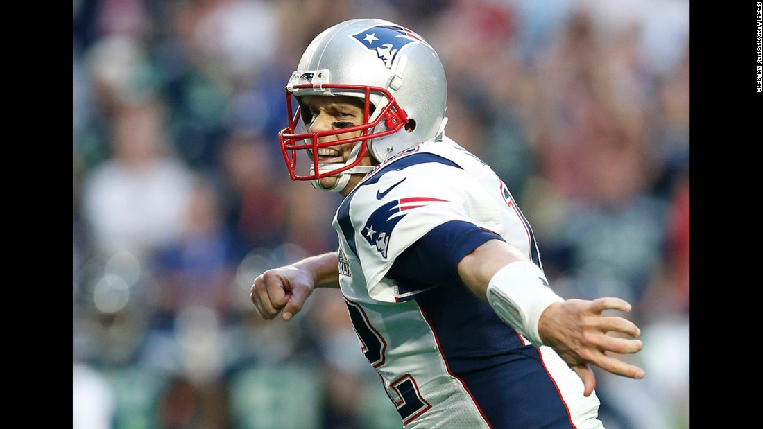 Brady pumps his fist after the touchdown pass to LaFell.
