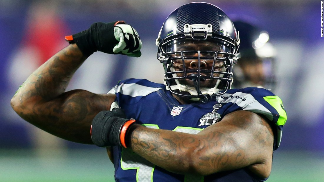 Seattle's Tony McDaniel celebrates a defensive stop.
