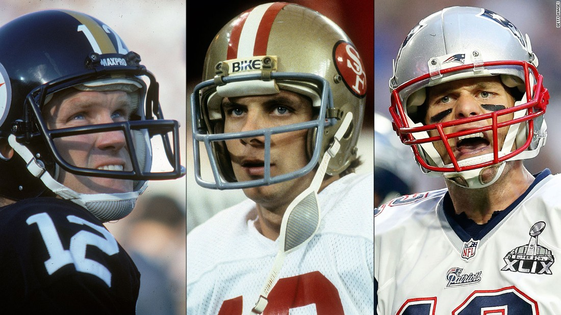Pittsburgh's Terry Bradshaw, left, and San Francisco's Joe Montana, center, were 4-0 in Super Bowls during their career. New England's Tom Brady, right, won his fourth Super Bowl in 2015. He has gone 4-2 in Super Bowls during his career.