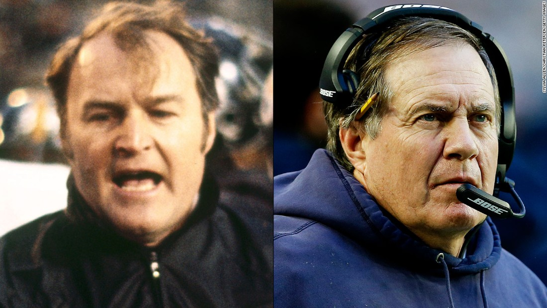 Pittsburgh's Chuck Noll, left, won four Super Bowls between 1975 and 1980. New England's Bill Belichick tied him in 2015.