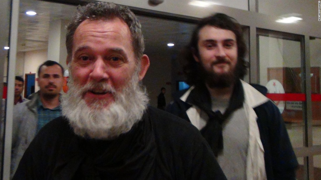 François in Sanliurfa, Turkey, just after his release on April 19, 2014. François, along with his colleagues Edouard Elias, Nicolas Henin, and Pierre Torres, were found by Turkish soldiers on the border, with their hands bound and blindfolded, Turkey's Dogan News Agency reported.