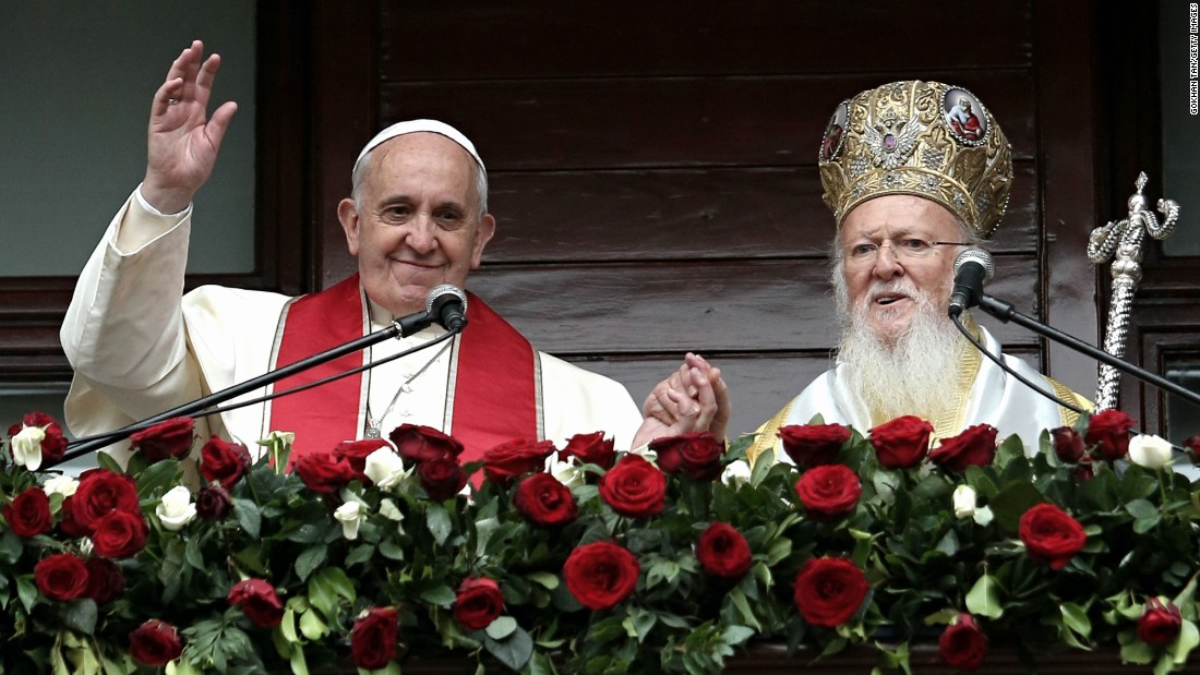 Pope Francis and Ecumenical Patriarch Bartholomew I address the faithful in Istanbul on Sunday, November 30.