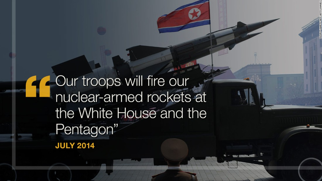 "<strong>July 2014:</strong> North Korea threatens to hit the White House and Pentagon with nuclear weapons. American ""imperialists threaten our sovereignty and survival,"" North Korean officials reportedly said after the country accused the U.S. of increasing hostilities on the border with South Korea. ""Our troops will fire our nuclear-armed rockets at the White House and the Pentagon -- the sources of all evil,"" North Korean Gen. Hwang Pyong-So said, <a href=""http://www.telegraph.co.uk/news/worldnews/asia/northkorea/10997161/North-Korea-threatens-nuclear-strike-on-White-House.html"" target=""_blank"">according to The Telegraph.</a>"