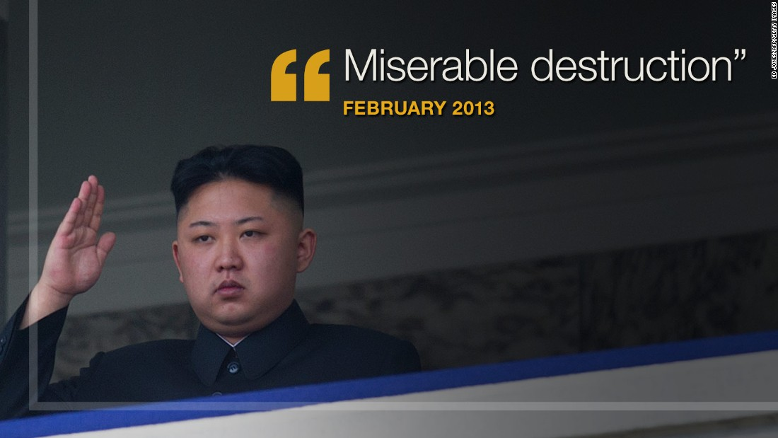 "<strong>February 2013:</strong> In a message to the United States and South Korea, <a href=""http://www.cnn.com/2013/02/23/world/asia/koreas-tension/"" target=""_blank"">North Korea vowed</a> ""miserable destruction"" if ""your side ignites a war of aggression by staging reckless joint military exercises."""
