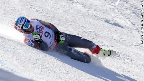 US skier Bode Miller is seen after he crashed during the 2015 World Alpine Ski Championships men's Super G, on February 5, 2015 in Vail, Colorado. AFP PHOTO / FABRICE COFFRINI (Photo credit should read FABRICE COFFRINI/AFP/Getty Images)