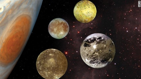Galileo Galilee spotted Jupiter's four great moons in 1610: Io, Europa, Ganymede and Callisto.