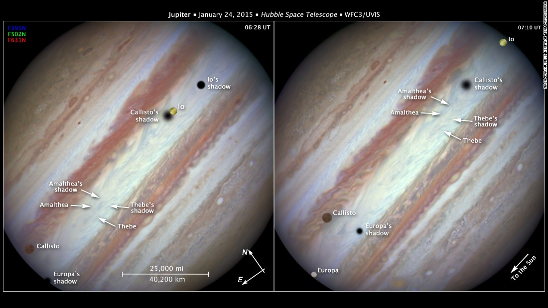 The Hubble Space Telescope also captured images of Jupiter's three great moons -- Io, Callisto and Europa -- passing by at once.