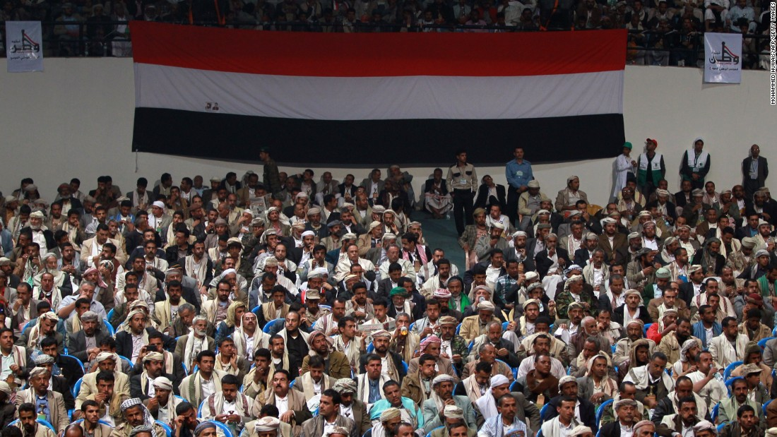 Members of the Houthi movement and their allies attend a meeting in the Yemeni capital on Sunday, February 1.